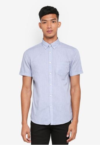 OVS blue Casual Short Sleeve Shirt 8474CAAA328B16GS_1