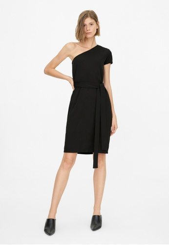 Pomelo black Waist Tie One Shoulder Dress - Black 1AB27AA144D46CGS_1