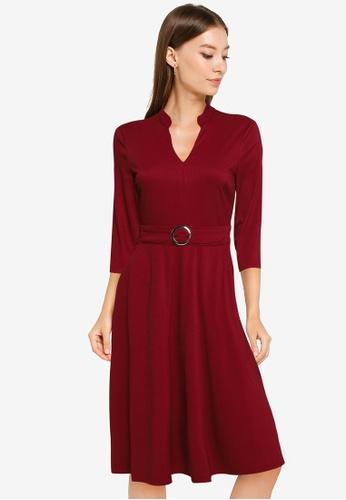 ZALORA WORK red Notch Neck Dress With Belt 13F3CAA48DD6A5GS_1