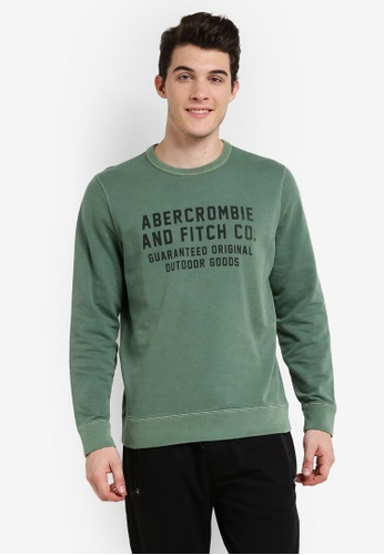 Abercrombie & Fitch green Logo Crew Sweater AB423AA0RCRVMY_1