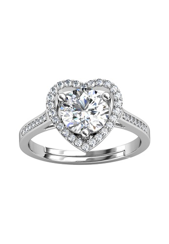 Her Jewellery silver CELÈSTA Moissanite - Mon Amour Ring (925 Silver with 18K White Gold Plating) by Her Jewellery 5B81AAC2735D09GS_1