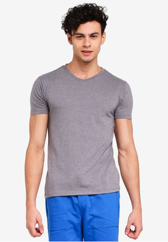 Penshoppe grey Semi Fit Tee With Special Print Effect 6F4C2AA4A63C16GS_1