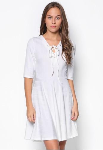 穿孔繫帶羅紋傘擺洋裝, 服esprit暢貨中心飾, 洋裝