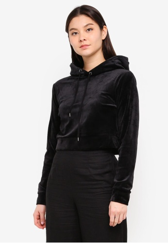 Supre black Velour Fitted Hoodie F6ECEAA2E55C48GS_1