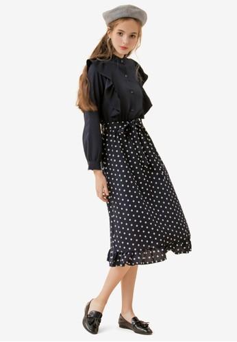 Eyescream blue and navy Polka Dot Ruffle Dress 37107AA8EEC4EBGS_1