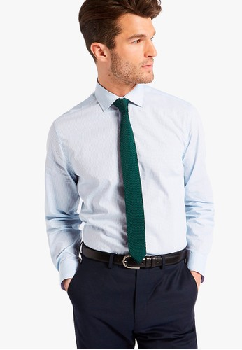 MARKS & SPENCER blue Pure Cotton Tailored Fit Shirt 5A3E2AAA582FBAGS_1