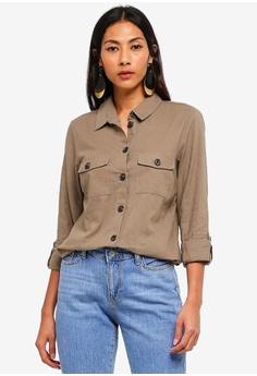 287a34bfd484 Dorothy Perkins green Khaki Safari Linen Shirt 4C0AFAA115E1F3GS_1