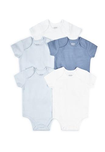 Mamas and Papas white and blue Blue Short Sleeve Cotton Bodysuits - 5 Pack 8F93CKABC94D37GS_1