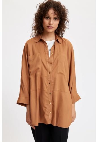 DeFacto brown Woman Woven Long Sleeve Shirt F74B9AA1E3BF36GS_1