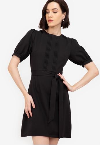 ZALORA WORK black Pintuck Detail Puff Sleeves Dress 0462BAAA4C7D1FGS_1