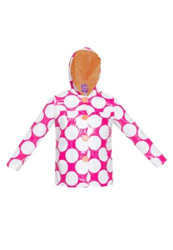 Spring Fling pink Polka Dots Hooded Rain Coat 98B4FKA2FC336FGS_1