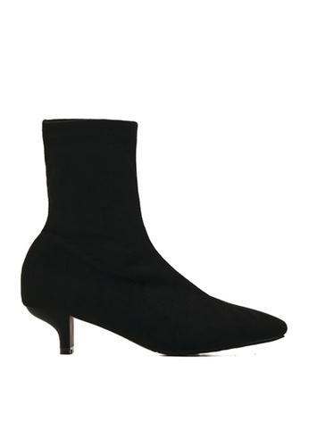 Twenty Eight Shoes 黑色 彈力仿猄皮貼腳踝靴379 5AF9ASH7D0BCCFGS_1