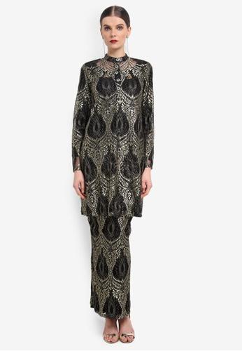 Rizalman for Zalora black and gold Indrajit Mandarin Collar Kurung RI909AA0SEYCMY_1
