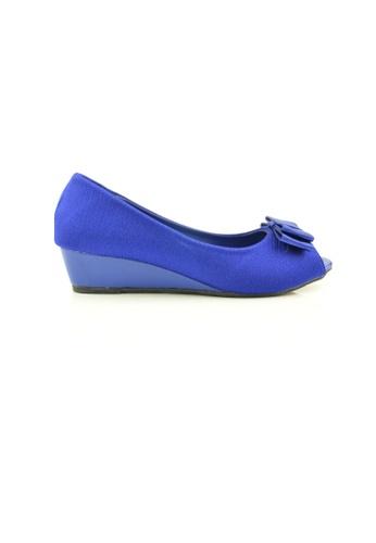 SHINE blue Peep Toe Ribbon Wedges SH554SH0GVDYSG_1