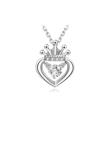 Glamorousky white 925 Sterling Silver Heart Crown Pendant with Cubic Zircon and Necklace 79C42ACB50A9C3GS_1