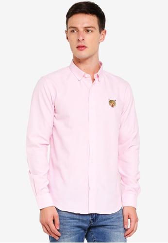 Brave Soul 粉紅色 老虎刺繡長袖襯衫 11BF7AA1294D71GS_1