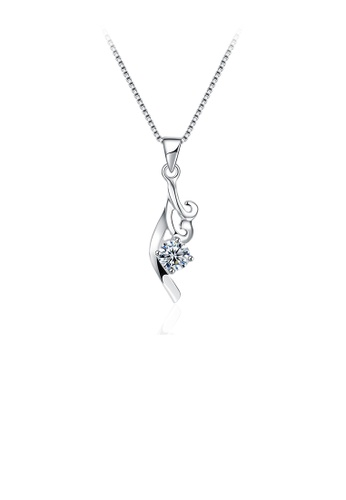 Glamorousky white 925 Sterling Silver Romantic Elegant Ocean Waves Pendant Necklace with Cubic Zircon F3715AC01D8D0FGS_1