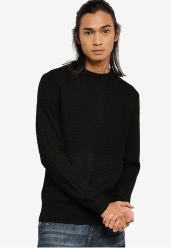 Guess black Keaton Long Sleeve CN Basket Sweater 77FA1AAFB55492GS_1