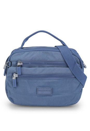 Bagstationz blue Crinkled Nylon Convertible Satchel Bag 0F3CCACB274715GS_1