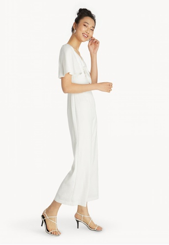 609e7876b662 Buy Pomelo Front Bow Bell Sleeve Jumpsuit - White Online