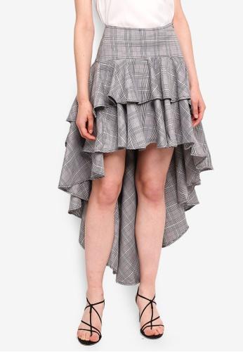 MDSCollections multi Asymmetrical Ruffled Skirt In Checks 8127DAA6218BC1GS_1