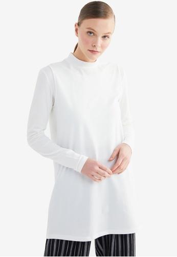 Trendyol 白色 基本Tunic上衣 CC46CAACA508C7GS_1