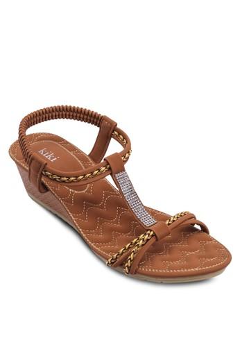 T字帶繞踝厚底涼鞋, 女鞋, 楔形esprit au涼鞋