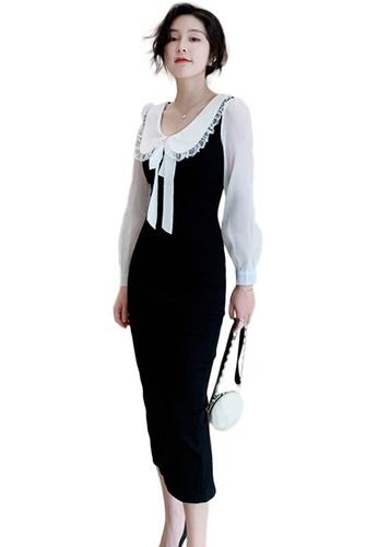 Sunnydaysweety black Sweet Doll Collar Bowknot Slim One Piece Dress A21022264 A279DAA87F551CGS_1