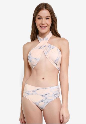 South Beach pink Peach Marble Wrap Around Bikini W/ Hi Waist Brief 37977USFB1A22FGS_1