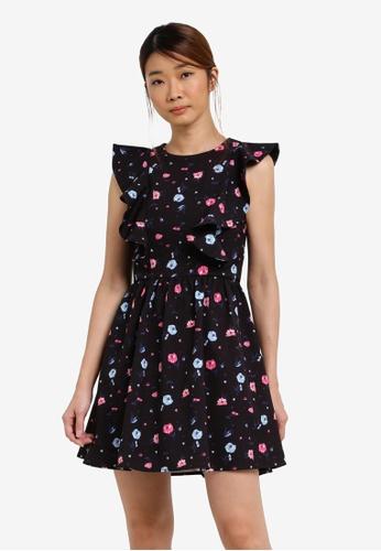 Something Borrowed black Printed Ruffled Shoulder Dress D2674AAA10FD2CGS_1
