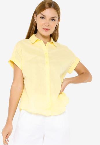 Banana Republic yellow Button Up Double Gauze Shirt 9EFEFAA9DF36BBGS_1