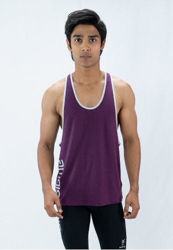 AMNIG Amnig Men Muscle  Sleeveless Tee with Contrast Binding (Plum) AM133AA39TMIMY_1