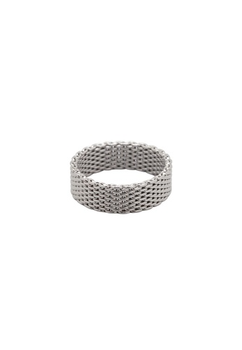 SKEDA silver Thick Wire Mesh Ring E78A1AC8256618GS_1