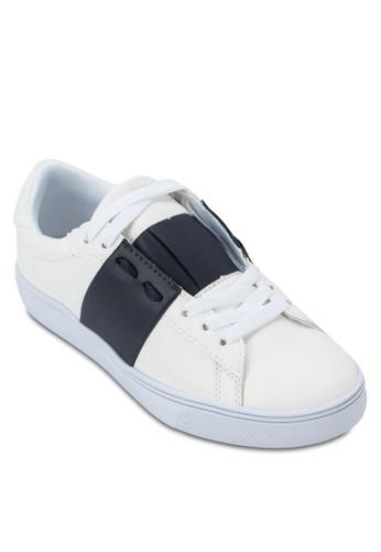 色塊繫帶運動鞋, 女鞋, 休閒zalora時尚購物網評價鞋