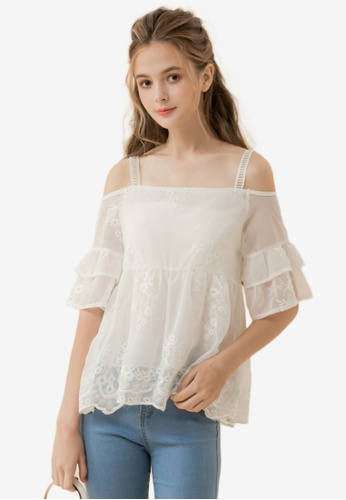 Eyescream white Cold Shoulder Lace Top 7D820AAD48F6E2GS_1
