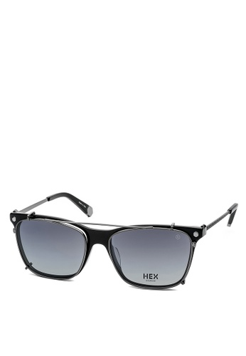 HEX EYEWEAR black and silver Pioneer - Ellenby - Optical with Clip-on - Made in Italy HE671AC2V1JAHK_1