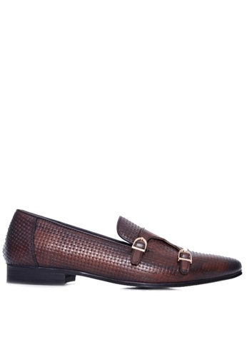 Zeve Shoes brown Zeve Shoes Loafer Slipper - Dark Brown Double Monk Strap with Woven Leather 489A1SH819AEEEGS_1