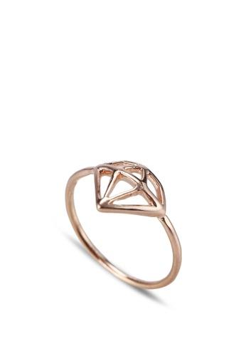 Wanderlust + Co gold Frame-Diamond Rose Gold Ring WA415AC76QIHMY_1