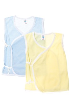 444 Tieside Sleeveless Blue and Yellow (Set of 6)