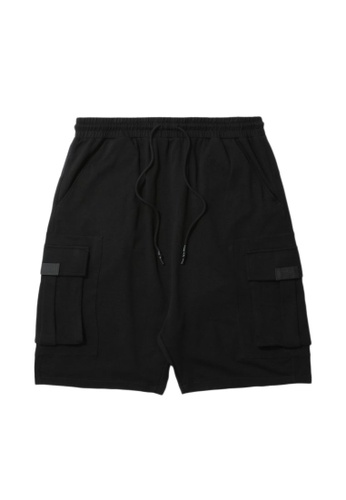 Fivecm black Drawstring cargo sweat shorts 9E220AAD0346CFGS_1
