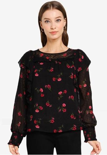Dorothy Perkins black Dobby Pink Floral Long Sleeve Top 604D4AA758028FGS_1
