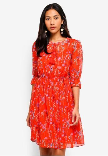 Hopeshow red Floral Capri Sleeve Long Dress CDEE3AAF6498AFGS_1