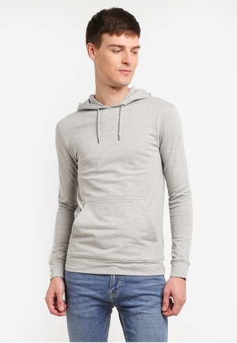 Topman grey Grey Ultra Muscle Fit Hoodie TO413AA0SHQEMY_1