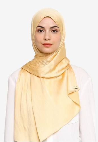 VERCATO beige Pallure Premium Pleated Allure Satin Shawl 64BCEAABBB8958GS_1
