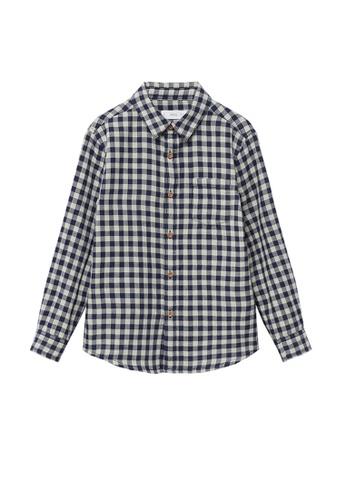 MANGO KIDS blue Check Cotton Shirt 01CEFKA6D397B0GS_1