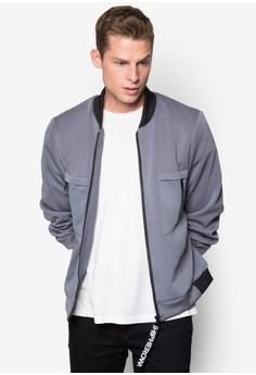 Text Zipper Puller Neoprene Bomber Jacket