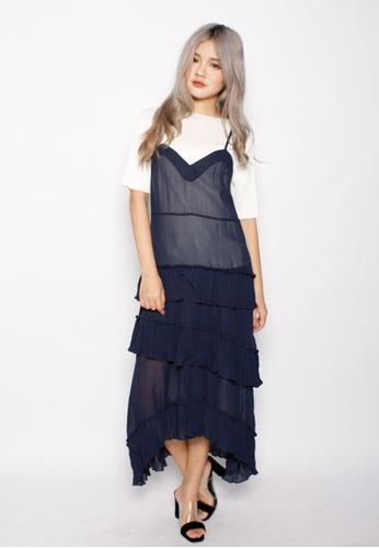 Seoul in Love blue Yong Hwan Spaghetti Strap Dress In Blue SE496AA0GQ3SSG_1