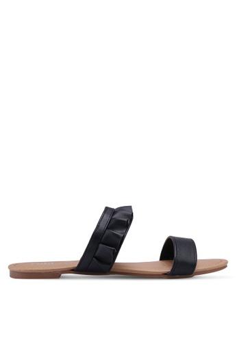 Rubi 黑色 Everyday Double Strap Ruffle Slides 6BB69SH4102883GS_1