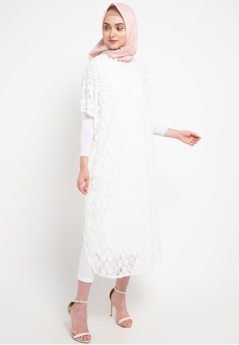 Chic Simple white 2 Layer Flo Aplique Lace Kaftan E3496AAC324ED0GS_1