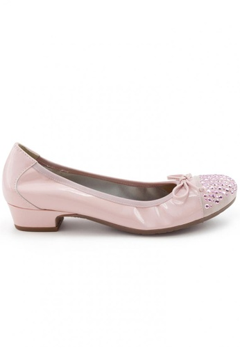 Shu Talk pink Patent Round Toe Studs Low Heel Shoes SH397SH0FPKNSG_1
